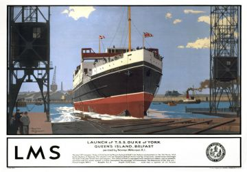 Launch of TS Duke of York, London Midland and Scottish railways poster. By Norman Wilkinson
